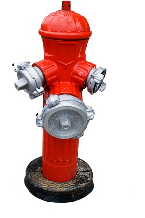 red painted fire hydrant on white Stock Photo