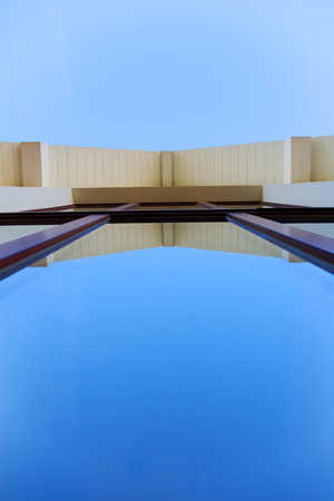abstract architectural shot, long window from low point Stock Photo