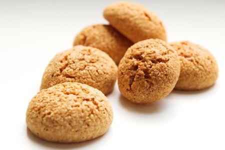 traditional  italian amarettini cookies  on white