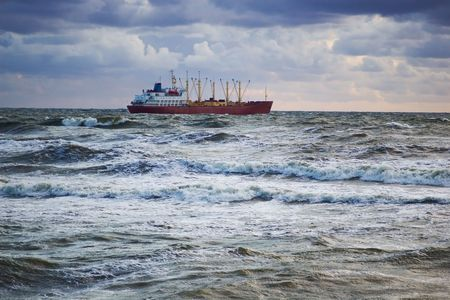 general purpose vessel heading through the storm to the open sea