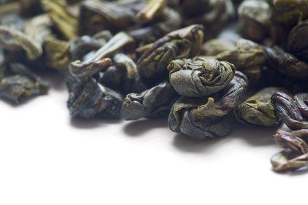 gunpowder tea: close up shot of loose green tea with withe copyspace