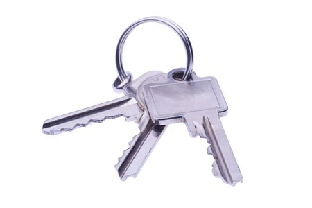 set of keys on key-ring isolated on white Stock Photo - 2412761