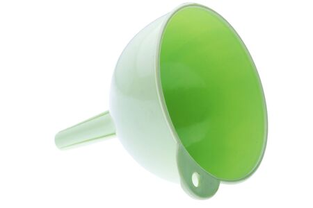 green plastic funnel isolated on white photo