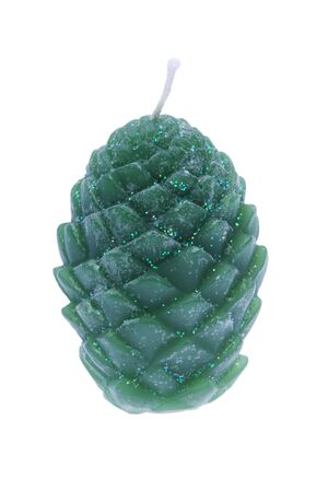 cone shaped: pine cone shaped decorative green candle