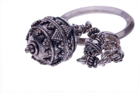 stell: indian styled  stell keyring isolated on white