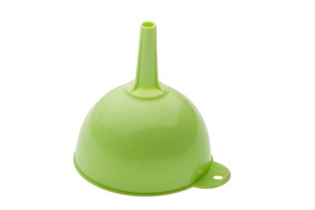 green plastic kitchen funnel isolated on white photo
