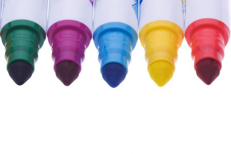 five colorful pens isolated on white