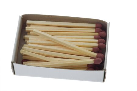 unlit: opened box of matches isolated on white