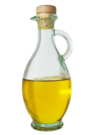 decanter with extra virgin olive oil photo