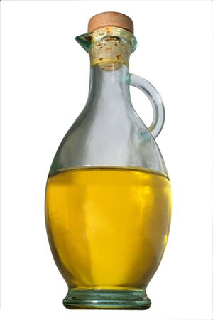 bottle of extravirgin olive oil isolated on white photo