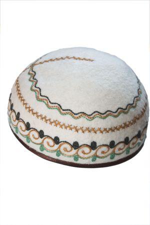 skullcap: Kazakh traditional felt scullcap isolated