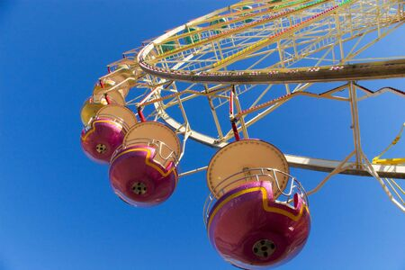 observation wheel: observation wheel close-up under blue skies Stock Photo