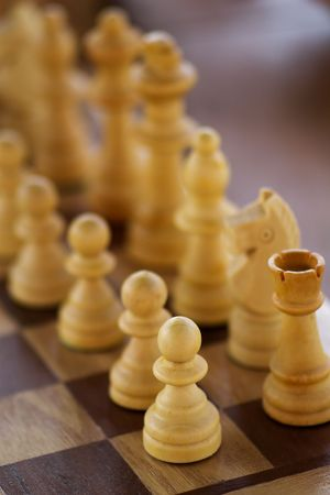 wooden chess on the chessboard photo