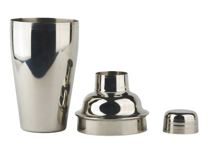 cocktail mixer: stainless steel shaker parts on white Stock Photo