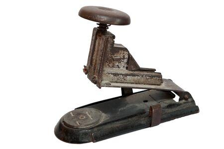 antique stapler isolated on white