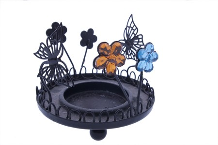 decorative candle holder on white background photo