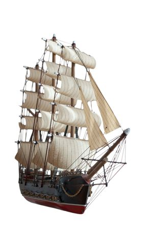 old ship model  on white background