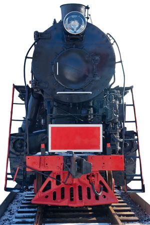 old tank-engine on the rails isolated Stock Photo