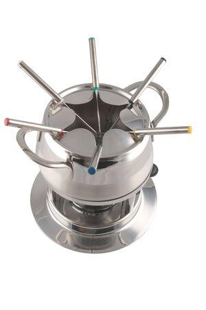 trivet: stainless steel fondue maker on white