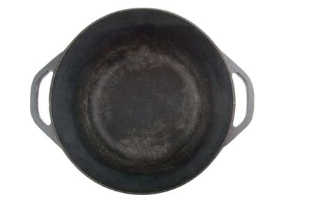 opened cast iron saucepan from the top Stock Photo