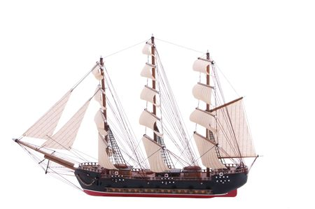 model of an old frigate isolated on white photo