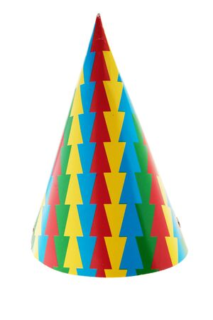 cone shaped: cone shaped party hat on white