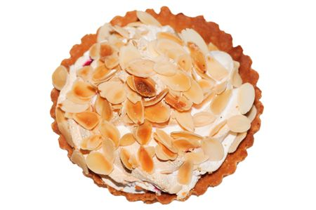 pastila: small cake with meringue and almond chips isolated on white