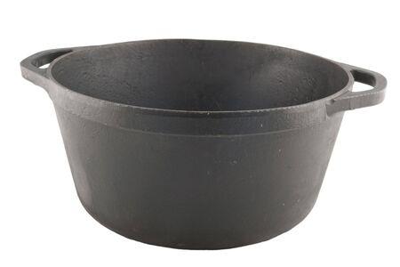 caldron: cast iron cauldron without cover isolated on white