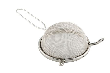 tammy: metal sieve with handle isolated on white Stock Photo