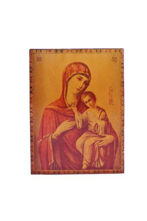 Holy Mother  with  Jesus Christ icon isolated on white photo