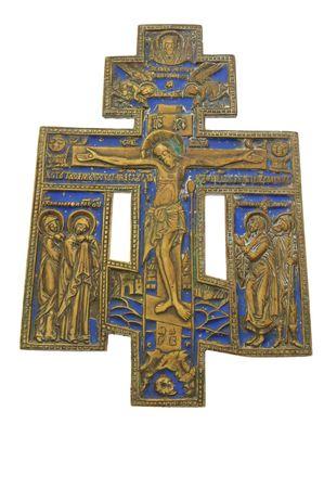 orthodox brass and enamel crucifix  isolated on white Stock Photo - 6204542