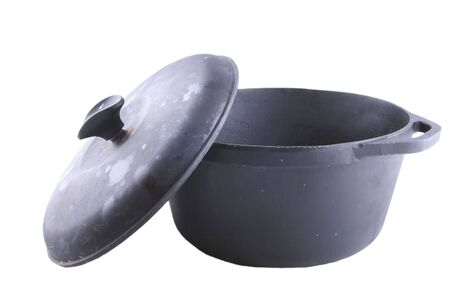 caldron: cast iron pot with cover on white