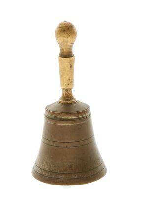 bell bronze bell: campana de la mano de bronce Vintage aislado en blanco  Foto de archivo