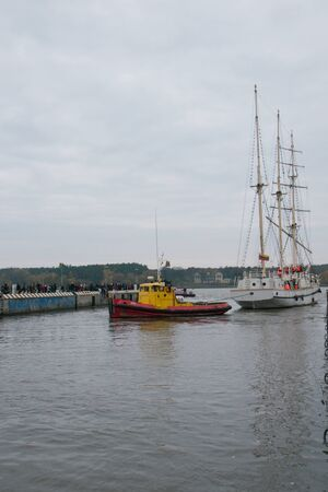 KLAIPEDA, LITHUANIA – NOVEMBER 10: Klaipeda city symbol barquentine