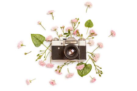 Uitstekende retro fotocamera, roze rozen de fee en de groene bladeren van Brunn op witte achtergrond. plat leggen, bovenaanzicht. Stockfoto