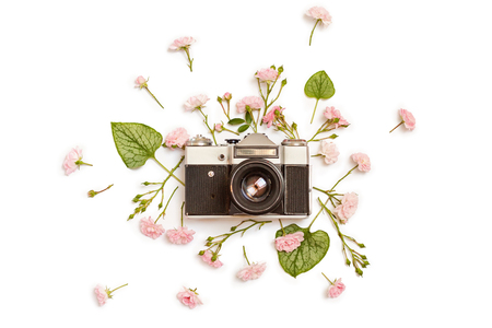 Vintage retro photo camera, pink roses the fairy and Brunnera green leaves on white background. flat lay, top view.