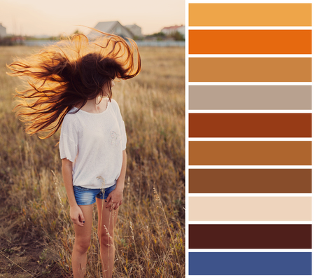 Young girl with fluttering in the wind hair stay at the meadow. Colour palette with complimentary colour swatches