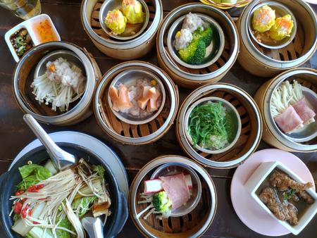 Chinese food dim sum in restaurant.