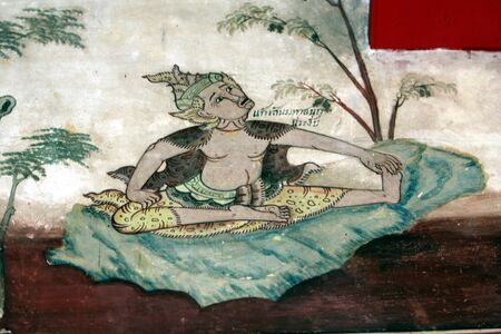 Painting a hermit Exercise in thailand Stock Photo - 15250762