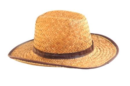 Wicker hat in whiet background