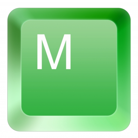 keyboard M button green Stock Photo - 16514400