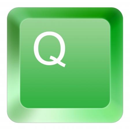 keyboard Q button green Stock Photo - 16514401