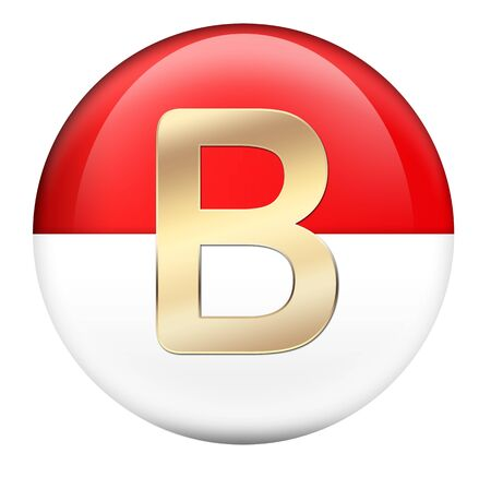 Button B in red glossy sphere