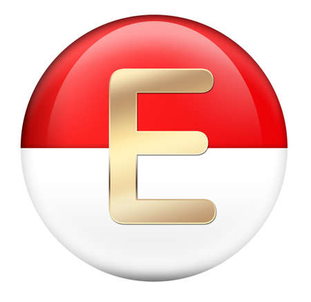 Button E in red glossy sphere photo