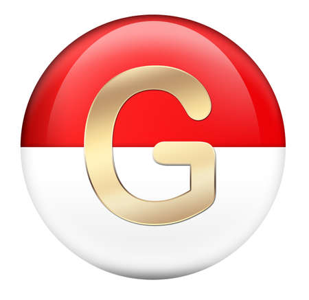 Button G in red glossy sphere