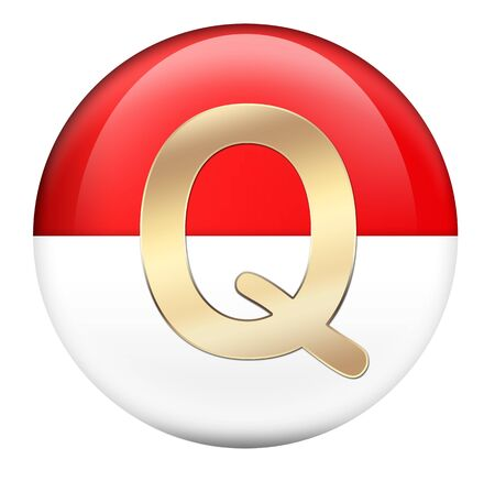 Button Q in red glossy sphere photo