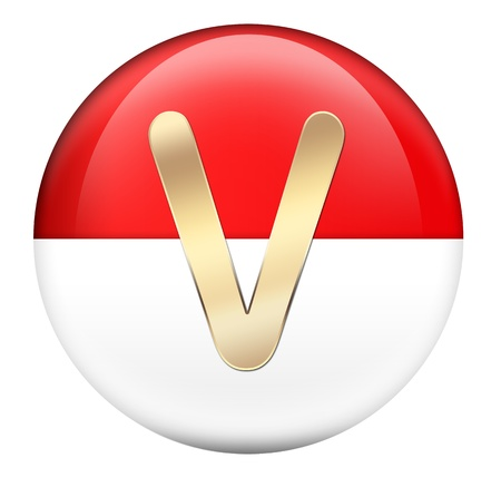 Button V in red glossy sphere photo