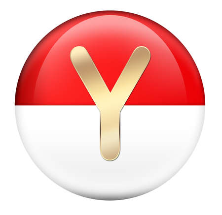Button Y in red glossy sphere Stock Photo