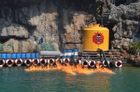 fire damage: Oil leak fire water