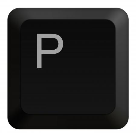 Keyboard P button black Stock Photo